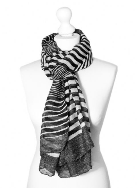 Believe - Large Silky Touch Stripe Design Fashion Scarf (Black and White V.2)
